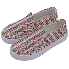 Multicolored Geometric Pattern  Kids  Canvas Slip Ons by dflcprints