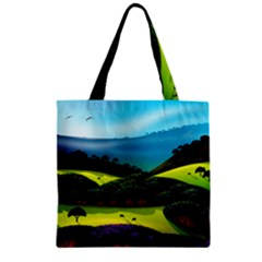 Morning Mist Zipper Grocery Tote Bag by ValleyDreams