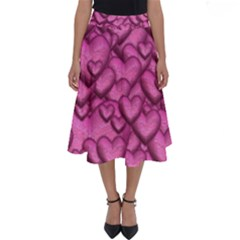 Shimmering Hearts Pink Perfect Length Midi Skirt by MoreColorsinLife