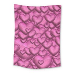 Shimmering Hearts Pink Medium Tapestry by MoreColorsinLife