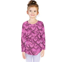 Shimmering Hearts Pink Kids  Long Sleeve Tee by MoreColorsinLife