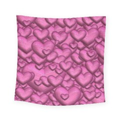 Shimmering Hearts Pink Square Tapestry (small) by MoreColorsinLife