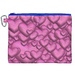 Shimmering Hearts Pink Canvas Cosmetic Bag (xxl) by MoreColorsinLife
