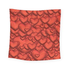 Shimmering Hearts Deep Red Square Tapestry (small) by MoreColorsinLife