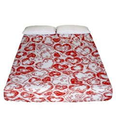 Vivid Hearts, Red Fitted Sheet (queen Size) by MoreColorsinLife
