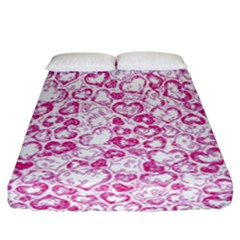 Vivid Hearts, Pink Fitted Sheet (california King Size) by MoreColorsinLife