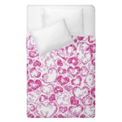Vivid Hearts, Pink Duvet Cover Double Side (single Size) by MoreColorsinLife