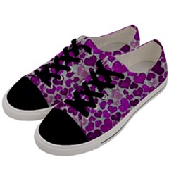 Sparkling Hearts Purple Men s Low Top Canvas Sneakers by MoreColorsinLife