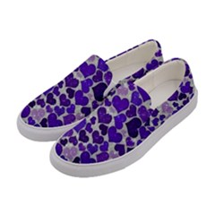 Sparkling Hearts Blue Women s Canvas Slip Ons by MoreColorsinLife