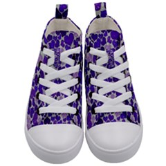 Sparkling Hearts Blue Kid s Mid-top Canvas Sneakers