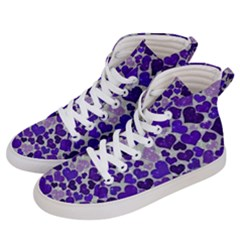 Sparkling Hearts Blue Men s Hi Top Skate Sneakers by MoreColorsinLife