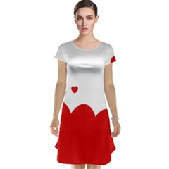 Heart Shape Background Love Cap Sleeve Nightdress