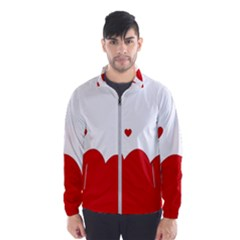 Heart Shape Background Love Wind Breaker (men) by Nexatart