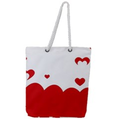 Heart Shape Background Love Full Print Rope Handle Tote (large)