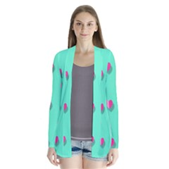 Love Heart Set Seamless Pattern Drape Collar Cardigan by Nexatart