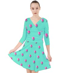 Love Heart Set Seamless Pattern Quarter Sleeve Front Wrap Dress