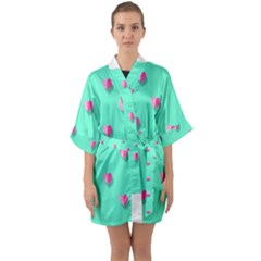 Love Heart Set Seamless Pattern Quarter Sleeve Kimono Robe