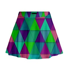 Background Geometric Triangle Mini Flare Skirt