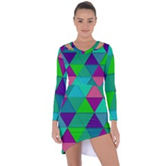 Background Geometric Triangle Asymmetric Cut Out Shift Dress