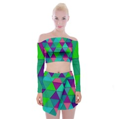 Background Geometric Triangle Off Shoulder Top With Mini Skirt Set