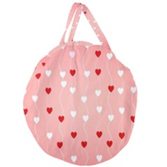 Heart Shape Background Love Giant Round Zipper Tote