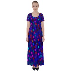 Squares Square Background Abstract High Waist Short Sleeve Maxi Dress