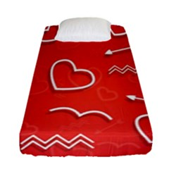 Background Valentine S Day Love Fitted Sheet (single Size)