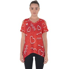 Background Valentine S Day Love Cut Out Side Drop Tee