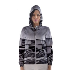 Omaha Airfield Airplain Hangar Hooded Wind Breaker (women)
