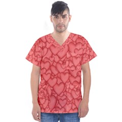 Background Hearts Love Men s V Neck Scrub Top