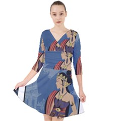 Java Indonesia Girl Headpiece Quarter Sleeve Front Wrap Dress