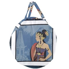 Java Indonesia Girl Headpiece Giant Round Zipper Tote