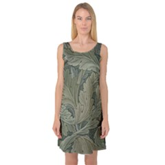 Vintage Background Green Leaves Sleeveless Satin Nightdress