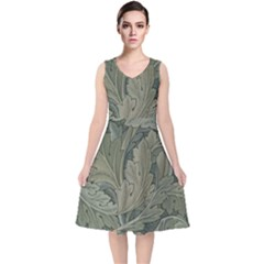 Vintage Background Green Leaves V Neck Midi Sleeveless Dress