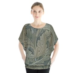 Vintage Background Green Leaves Blouse by Nexatart