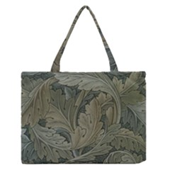 Vintage Background Green Leaves Zipper Medium Tote Bag by Nexatart