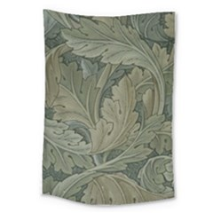 Vintage Background Green Leaves Large Tapestry by Nexatart