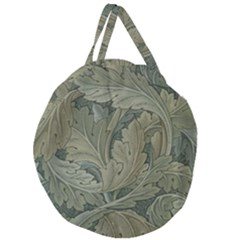 Vintage Background Green Leaves Giant Round Zipper Tote