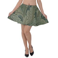 Vintage Background Green Leaves Velvet Skater Skirt