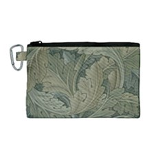 Vintage Background Green Leaves Canvas Cosmetic Bag (medium) by Nexatart