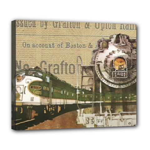 Train Vintage Tracks Travel Old Deluxe Canvas 24  X 20   by Nexatart