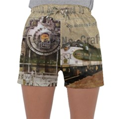 Train Vintage Tracks Travel Old Sleepwear Shorts