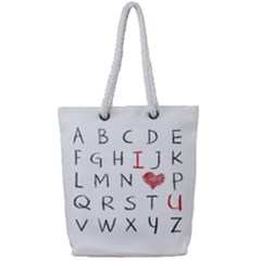 Love Alphabet Full Print Rope Handle Tote (small) by Valentinaart
