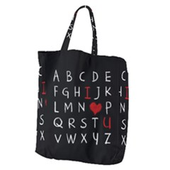 Love Alphabet Giant Grocery Zipper Tote