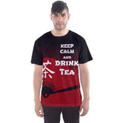 Keep Calm And Drink Tea   Dark Asia Edition Men s Sport Mesh Tee