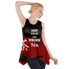 Keep Calm And Drink Tea   Dark Asia Edition Side Drop Tank Tunic