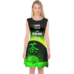 Keep Calm Green Tea Capsleeve Midi Dress