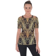 Gold, Black,peacock Pattern,art Nouveau,vintage,belle Epoque,chic,elegant,peacock Feather,beautiful Short Sleeve Top by 8fugoso