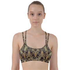 Gold, Black,peacock Pattern,art Nouveau,vintage,belle Epoque,chic,elegant,peacock Feather,beautiful Line Them Up Sports Bra by 8fugoso
