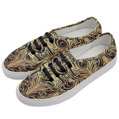 Gold, Black,peacock Pattern,art Nouveau,vintage,belle Epoque,chic,elegant,peacock Feather,beautiful Women s Classic Low Top Sneakers by 8fugoso